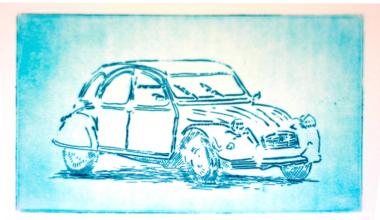 Citroen Deux Chevaux etching by ArteMie