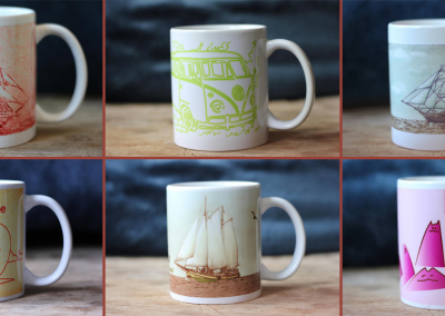 6 fotos coffeemugs on a row