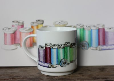 sewing thread aquarelle mug by ArteMie