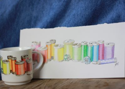 Sewing thread aquarelle on mug by ArteMie