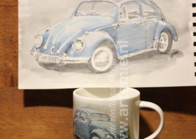 Volkswagen Kever mok en aquarel
