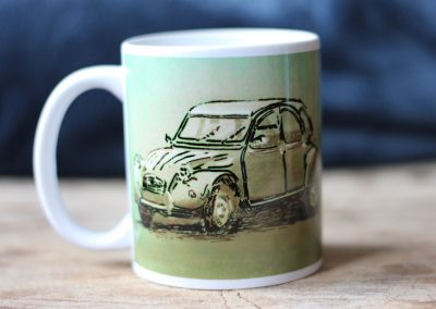 Citroen 2cv green grey coffee mug
