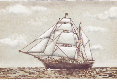 Tres Hombres etching in brown with added shade and light