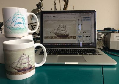 photo 2 Tres Hombres Mugs with design on background