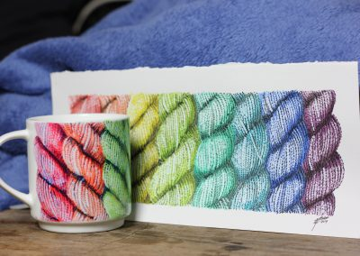 Rainbow knitting wool yarn mug by Artemie with original aquarelle