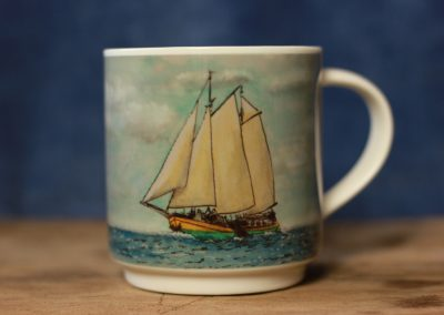 Clipper Kaat Mossel aquarelle cartoon mug by ArteMie