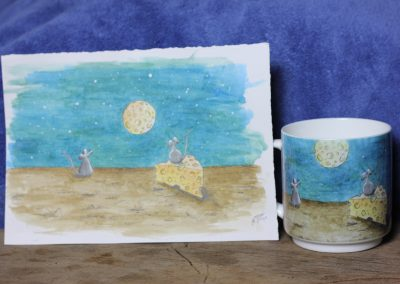 Cheese Moon and mice aquarelle on a mug by ArteMie