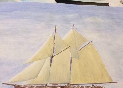 A3 size aquarelle and acrylic painting of the famous Canadian Blue Nose II sailing vessel, by Artemie