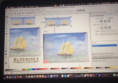 Digital editing of Blue Nose II aquarelle painting by Artemie