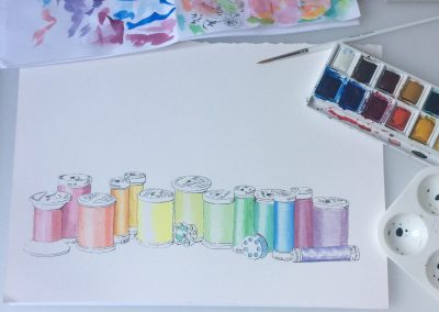 Sewing thread in rainbow colours, aquarelle and Indian ink by Artemie