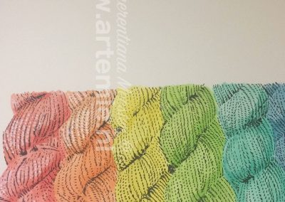 Knitting yarn in aquarelle, acryl and indian ink by Artemie