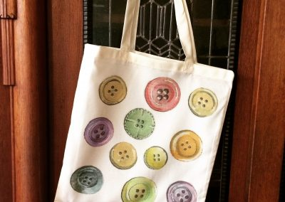 tote bag with buttons in aquarelle by Artemie